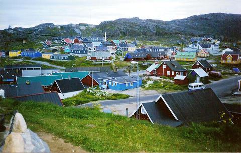 Séð yfir hluta Qaqortoq (4000 manna bær)